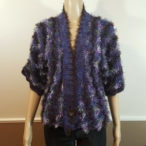 Nic +Zoe Purple Fuzzy Crop Cardigan